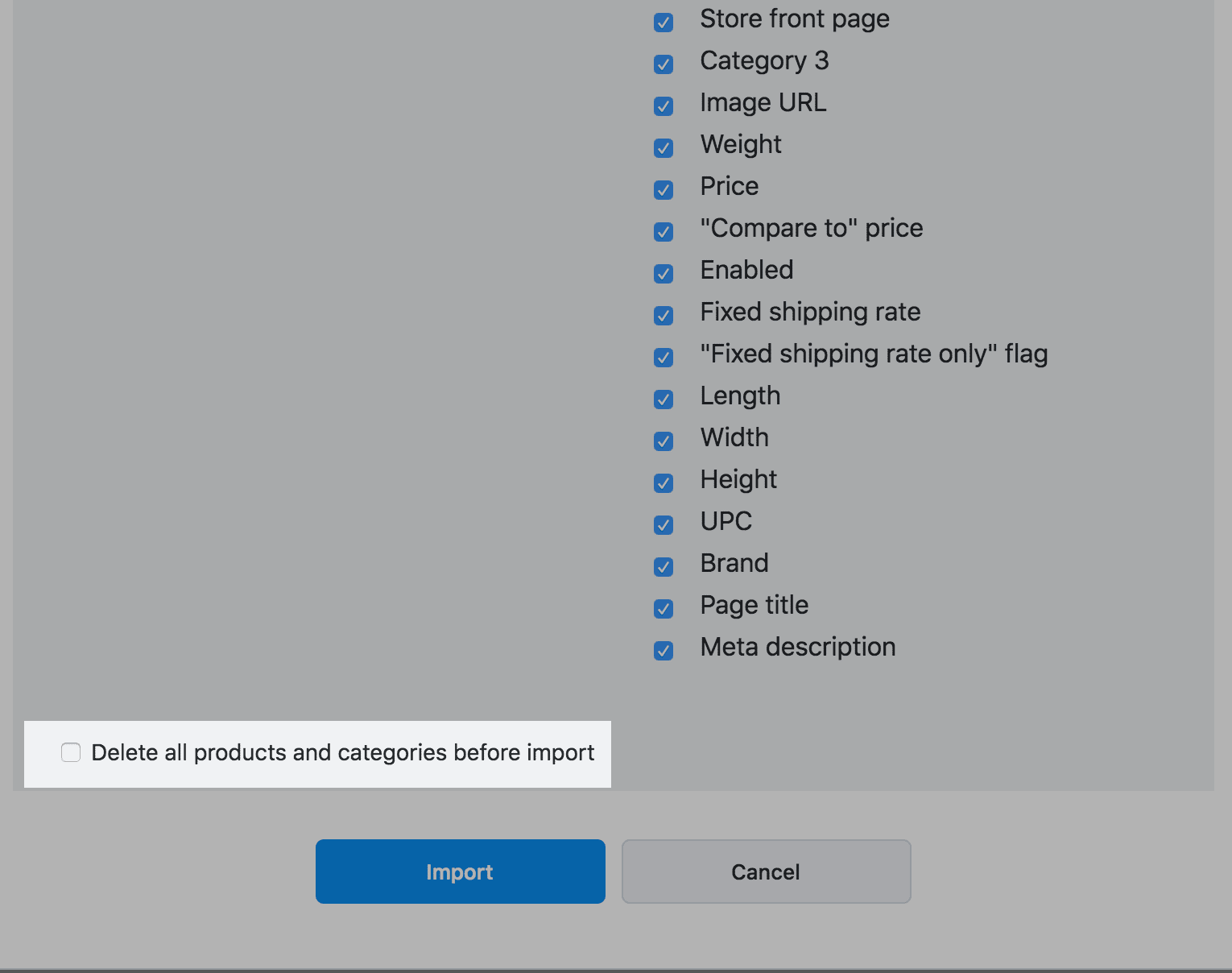 option Delete all products and categories before import